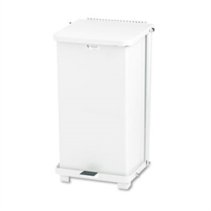 Defenders Square White Step Can - 12 Gallon