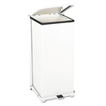 Defenders Square White Steel Step Can - 24 Gallon