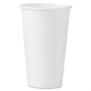 White Single Sided Paper Hot Drink Cup - 16 oz.