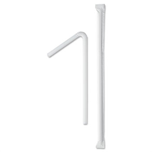 Wrapped Jumbo Flexible White Straw - 7.63 in.