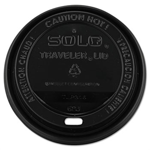 Traveler Dome Drink-Thru Black Lid for 10-24 oz. Hot Cups