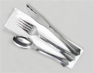 Reflections Silver Fork Knife Spoon and 2-Ply Napkin Kit