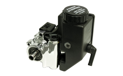 Power Steering Pump - Chrome Cast Iron with Integral Reservoir