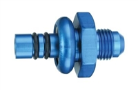 -6 AN Male to Ford EFI Hose Barb - Return Side, Aluminum, Blue Anodized (each)