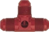"-6 Flare Tee Union with 1/8"" NPT Port - Red"