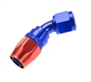 RHP -04 45 deg double swivel hose end - red&blue