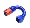 RHP -08 180 deg female aluminum end - red&blue