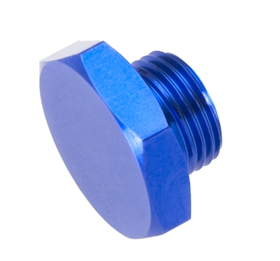 -16 AN/JIC straight thread (o-ring) port plug - blue