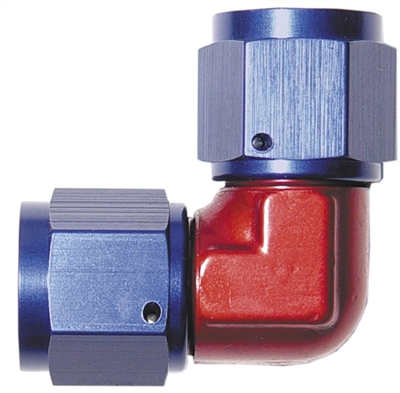 -04 female to female AN/JIC flare swivel coupling -90 deg - red&blue