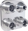 4-Way Square - Streamline - (8-10 male O-ring) - Polished