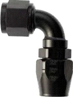 -8 90 Double Swivel Hose End to -6 Nut - Aluminum - Black Anodized