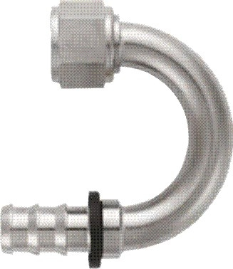 -10 180* Deg Push-On Hose End - Aluminum - Super Nickel Plated
