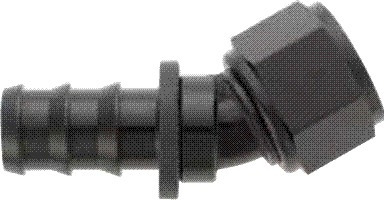 -06 30* Deg Push-On Hose End - Aluminum - Black Anodized