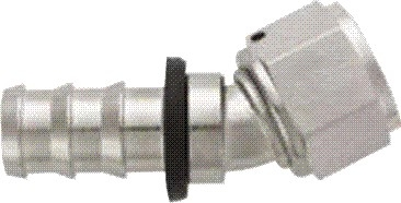 -08 30* Deg Push-On Hose End - Aluminum - Super Nickel Plated