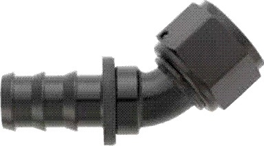 -08 45* Deg Push-On Hose End - Aluminum - Black Anodized