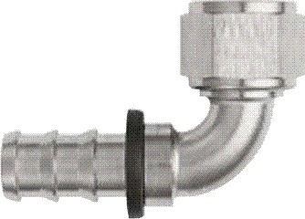 -08 90* Deg Push-On Hose End - Aluminum - Super Nickel Plated