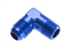 "-08 90 degree male adapter to -06 (3/8"") NPT male - blue"
