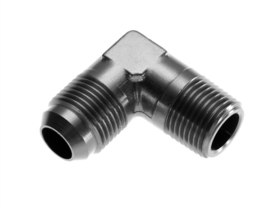 "-06 90 degree male adapter to -08 (1/2"") NPT male - black"