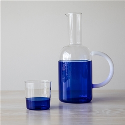 tequila, sunrise, jug, pitcher, glass, blue, Corrado Corradi, entertaining, designer, italian, borosilicate, Italy