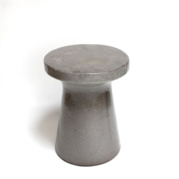 Large Gray Glazed Ceramic Plateau Garden Stool or Side Table