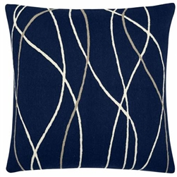 A6-Streamers Navy/Cream/Oyster Pillow