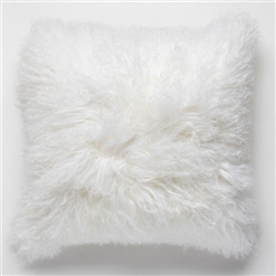Tibetan Fur Pillow Natural White