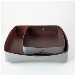 Dario Leather Tray Grey