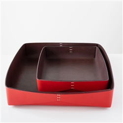 Dario Leather Tray Red