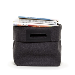 charcoal merino wool felt home basket with leather handles