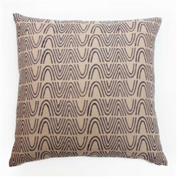 handmade natural dye slate print linen square pillow