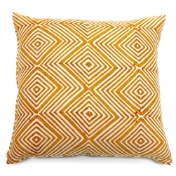 handmade natural dye mustard print linen square pillow