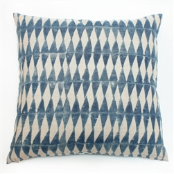 tie dye indigo harlequin print square handmade cotton pillow