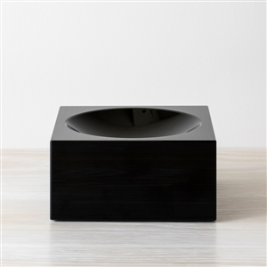 V Convex Square Bowl Black