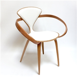 Customizable Norman Cherner white oak chair with white leather