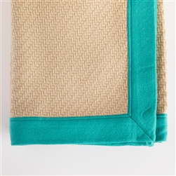 Cashmere throw, cashmere, throw, parquet weave, parquet, oyster/turquoise, turquoise, Gillian Weir, blanket, soft, textile, handwoven, nepal