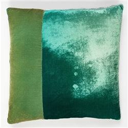 Velvet O Color Block Pillow Celadon