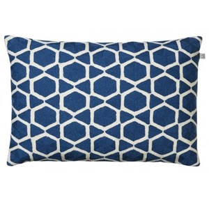 Handmade, Haveli, Blue, White, Velvet, Pillow