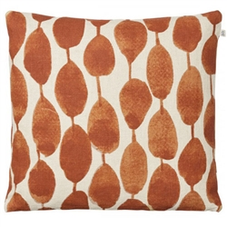 beige / orange hand made hand printed linen pillow