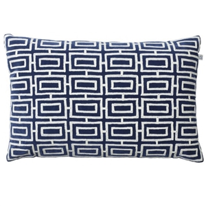 Hadnmade Kashi Blue/ White Velvet Pillow