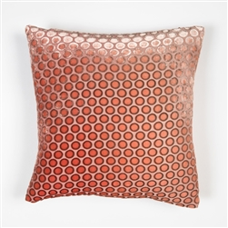 velvet, pillow, kevin, o'brien, color, dots, coral, square, silk, kevin o'brien,