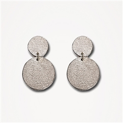 H Flat Paper Drop Silver Large Earrings