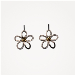 H Flower Silver Small Hook Earrings