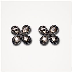 H Earrings Rosa 4-Petal Diamond Stud