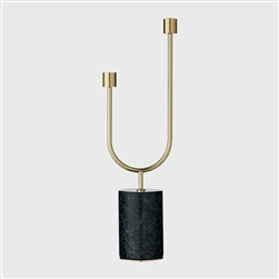 Black / green marble and gold brass tall candle holder, candelabra
