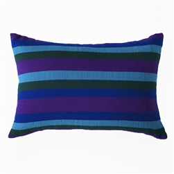 handwoven pillow in purple, cobalt, blue, hunter green