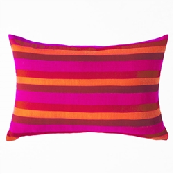 handwoven pillow in fuchsia, red, orange, dark red
