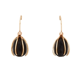 C Cage Obsidian Earrings