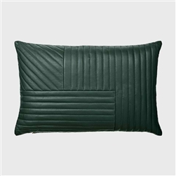 Luxurious, sleek forest green quilted leather pillow Motum cushion in rectangular shape