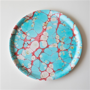 Marbled Round Tray Turquoise Dreams