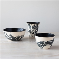 Malka Dina, terra bowl, terra, bowls, hand-painted ceramic bowls, earthenware bowls, black, white